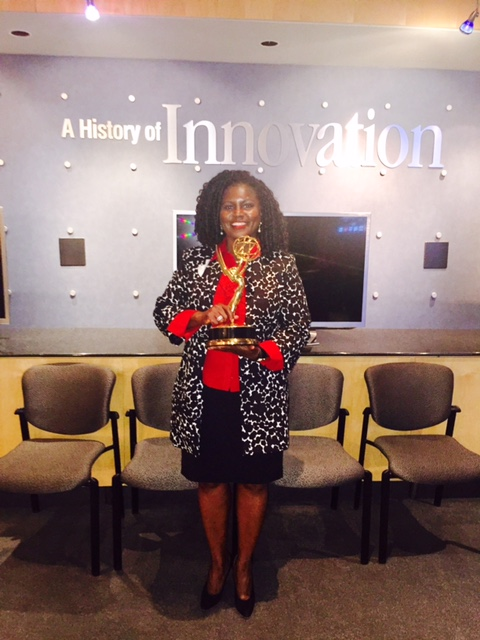 C Harper #futureemmy winner holds one of Cisco Systems Emmy Stature